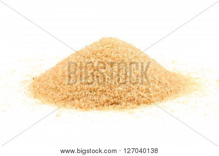 Crystals Cane Sugar Isolated On White
