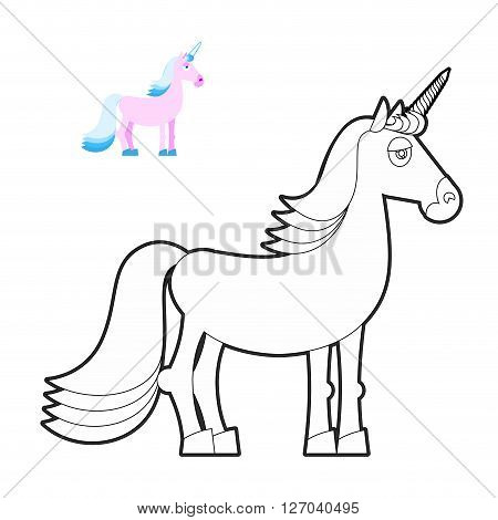 Unicorn Coloring Book. Fantastic Animal In Linear Style. Fabulous Beast. Mythical Creature With Horn