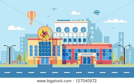 Stock vector illustration city street with supermarket in flat style element for infographic, website, icon, games, motion design, video