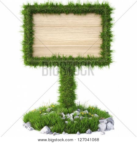 Old wooden billboard on the grass. Isolated on a white background. 3D illustration.