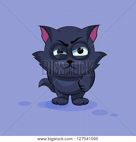 Vector Stock Illustration isolated Emoji character cartoon black cat sticker emoticon with angry emotion for site, infographics, video, animation, websites, e-mails, newsletters, reports, comics