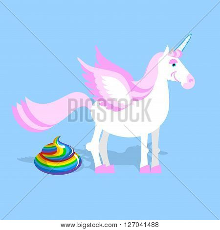 Unicorn Pooping Color Turd. Fantastic Animal In Sky. Fabulous Beast And Rainbow Shit. Mythical Creat