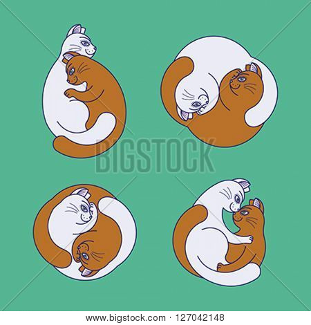 Two hugging cats. Set of editable color vector illustrations.