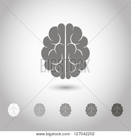 Vector illustration of brain designs and badges. Iconic representations of creativity ideas inspiration intelligence