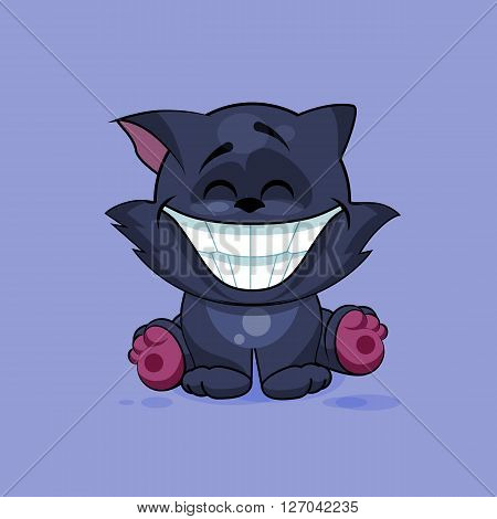 Vector Stock Illustration isolated Emoji character cartoon black cat with a huge smile from ear to ear sticker emoticon for site, infographics, video, animation, website, e-mail, newsletter, reports, comics