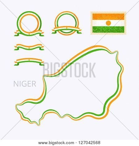 Outline map of Niger. Border is marked with ribbon in national colors. The package contains frames in national colors and stamp with flag.