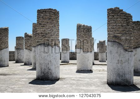 Ancient Toltec pillars at the archaeological sight