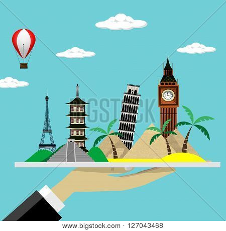 Tourism travel offer. Banner made like hand of waiter holding  tray whith landmarks. Vacation concept flat illustration