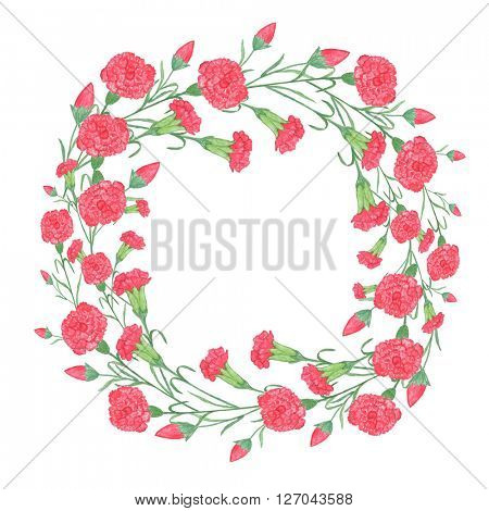 Watercolor carnation wreath with red flower. Isolated illustration on white background. Organic and natural concept. Card for 9 may holiday.