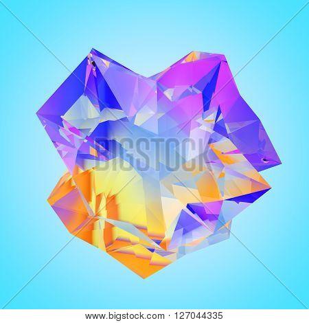 3D illustration of irregular polygonal  polyhedron colored object