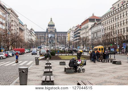 PRAGUE, CZECH REPUBLIC - FEBRUARY 13, 2015: View to the Wenceslas Square Wenceslas Monument and National Museum in Prague on February 13 2015. Wenceslas Square is one of the main city squares of Prague.