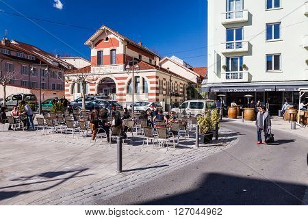 GAP, HAUTES-ALPES, FRANCE - APRIL 7, 2015: Exterior views of the city of Gap on April 7, 2015. Its a commune in south-eastern France the capital and largest settlement of the Hautes-Alpes department.