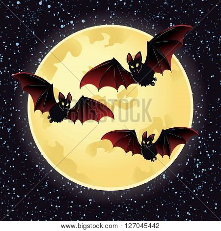llustrations of Halloween night with bats flying over moon