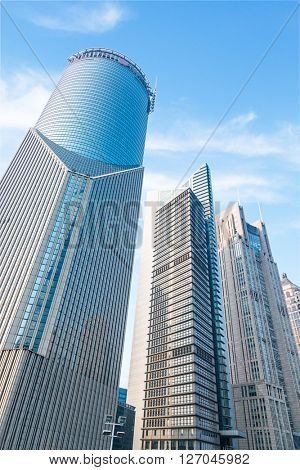skyscrapers under the blue sky,shanghai china.
