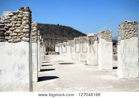 Ruined pillars of Toltec city in Tula