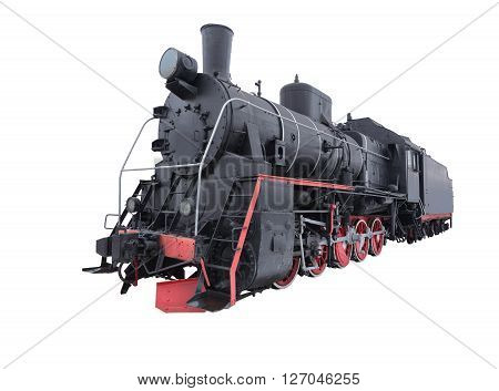 Retro steam locomotive isolated on white background.