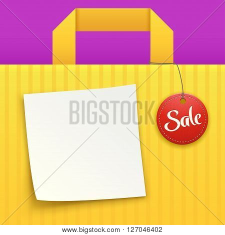 illustration of yellow background bag with sale label and white paper list