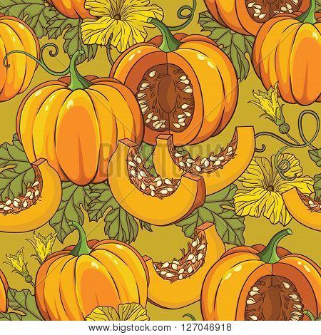 Vector seamless pattern backround design with pumpkins