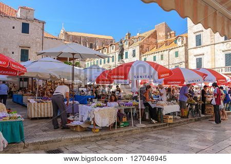 DUBROVNIK CROATIA - SEPTEMBER 1 2009: Open-air market known as Gruz market at Gundulic square