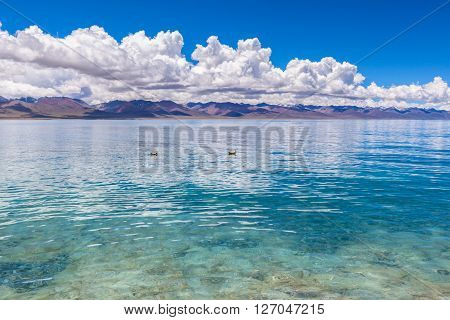 Stunning view of Namtso Lake and Nyenchen Tanglha Mountains in Tibet China. ** Note: Shallow depth of field