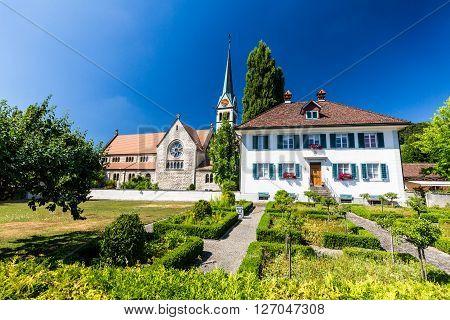 Exterior Views Of  The St. Sebastian Church Of Wettingen