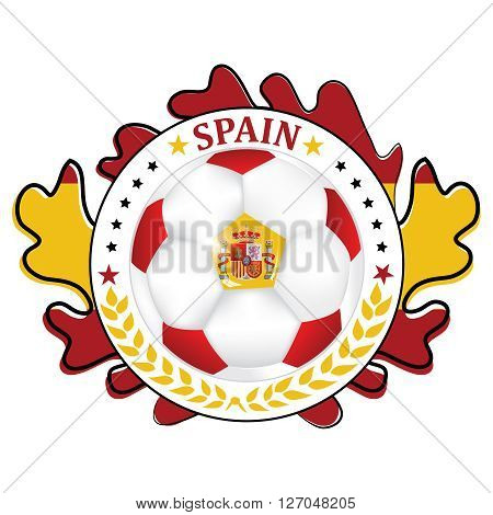 Printable Spain soccer label, containing a soccer ball and the Flag of Spain. Print colors used