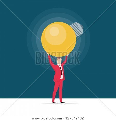 Red suit businessman. Great idea.Vector concept illustration.