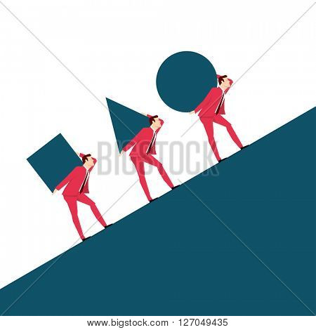 Red suit businessman. Team. Vector concept illustration.