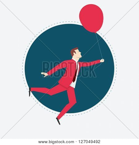 Businessman in red suit. Balloon. Flat style vector illustration.