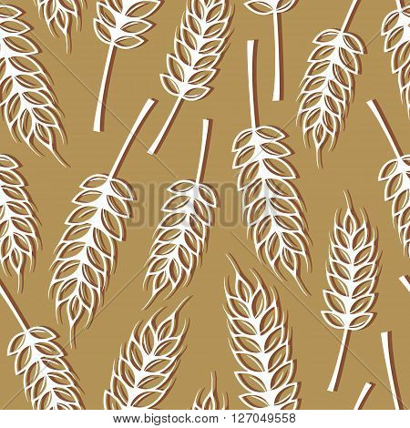 Seamless pattern with ears of wheat design