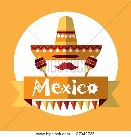 Mexican Traditional Clothes Sombrero Maraca, Mexico National Holiday Flat Vector Illustration