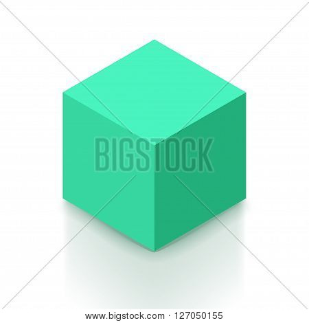 illustration of isometric green color cube with shadow on white background
