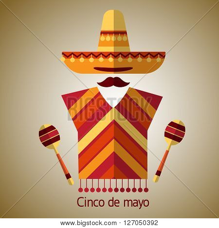 Mexican Traditional Clothes Sombrero Hat Maraca, Mexico Cinco De Mayo Holiday Flat Vector Illustration