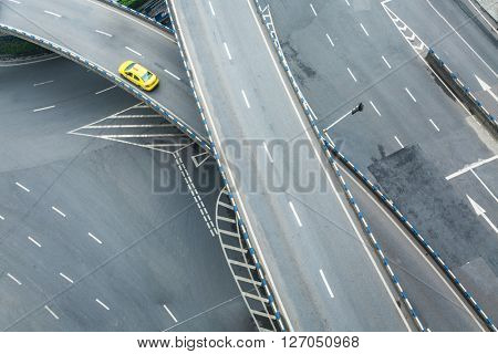 aerial view of car driving on chongqing caiyuanba overpass