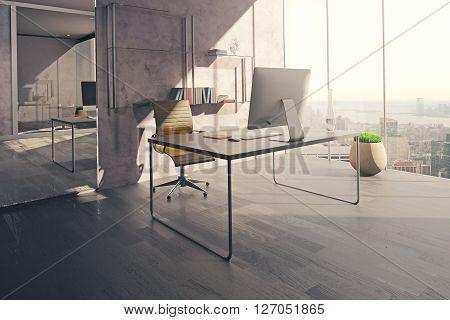 Workspace In Sunlit Office
