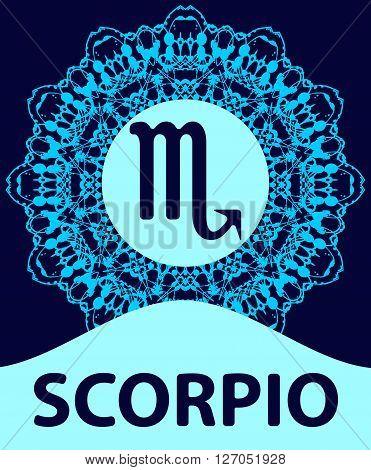 Scorpio. The Scorpion. Zodiac icon with mandala print Vector illustration.