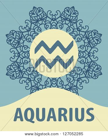 Hand-drawn zodiac Aquarius with ethnic floral geometric doodle pattern. Western Horoscope Symbol. Vector illustration. The Water Bearer. Zodiac icon with mandala print. Vector icon.