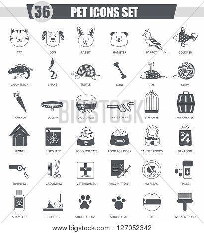 Vector Pet animal black icon set. Dark grey classic icon design for web