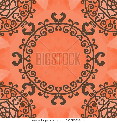 Arabesque motif. Seamless doodle flower frame background in vector with textural pattern. Ethnic abstract floral pattern. Endless pattern. Vintage decorative element. Hand drawn texture. Islamic, Arabic, Indian, Ottoman motifs.