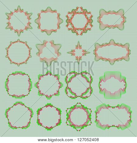 Set of vector guilloche. Rosette vector elements for diploma, certificate, coupons and similar documents.