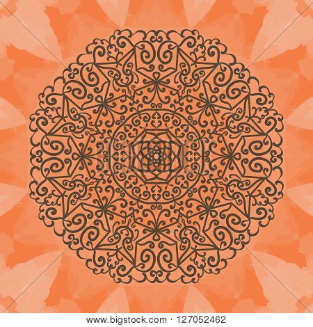 Elegant mandala-like pattern on red seamless texture. Hand-drawn mandala flower. Ornamental round seamless lace pattern. Abstract vector tribal ethnic yoga yantra background seamless pattern.