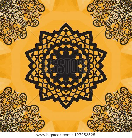 Elegant mandala-like seamless texture. Hand-drawn yoga yantra flower. Ornamental round seamless lace pattern. Abstract vector tribal ethnic native art imitation background, seamless pattern.