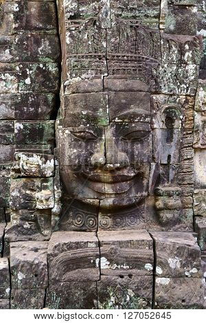 Giant stone face at Bayon Temple, Angkor Wat, Cambodia