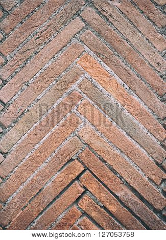 Fish Bone Texture Of Aged Red Bricks
