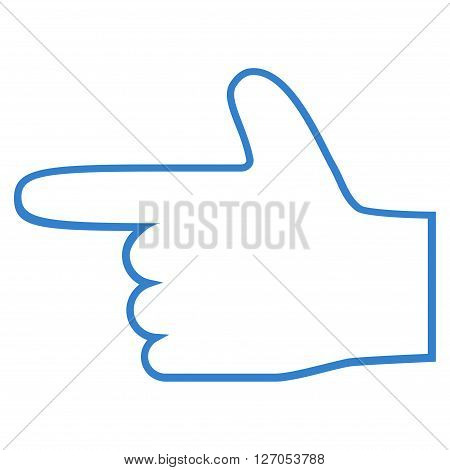 Hand Pointer Left vector icon. Style is stroke icon symbol, cobalt color, white background.