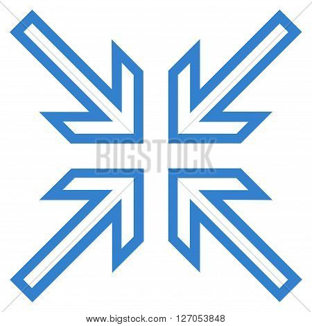 Implode Arrows vector icon. Style is outline icon symbol, cobalt color, white background.