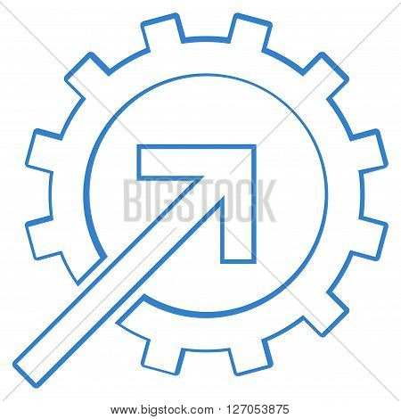 Integration Arrow vector icon. Style is outline icon symbol, cobalt color, white background.