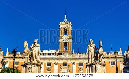 Statues of Dioscures on the Capitoline Hill, Rome, Italy