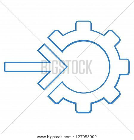 Integration Arrow vector icon. Style is thin line icon symbol, cobalt color, white background.