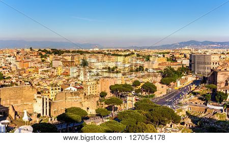 Aerial view of Rome with Colosseum - Italy